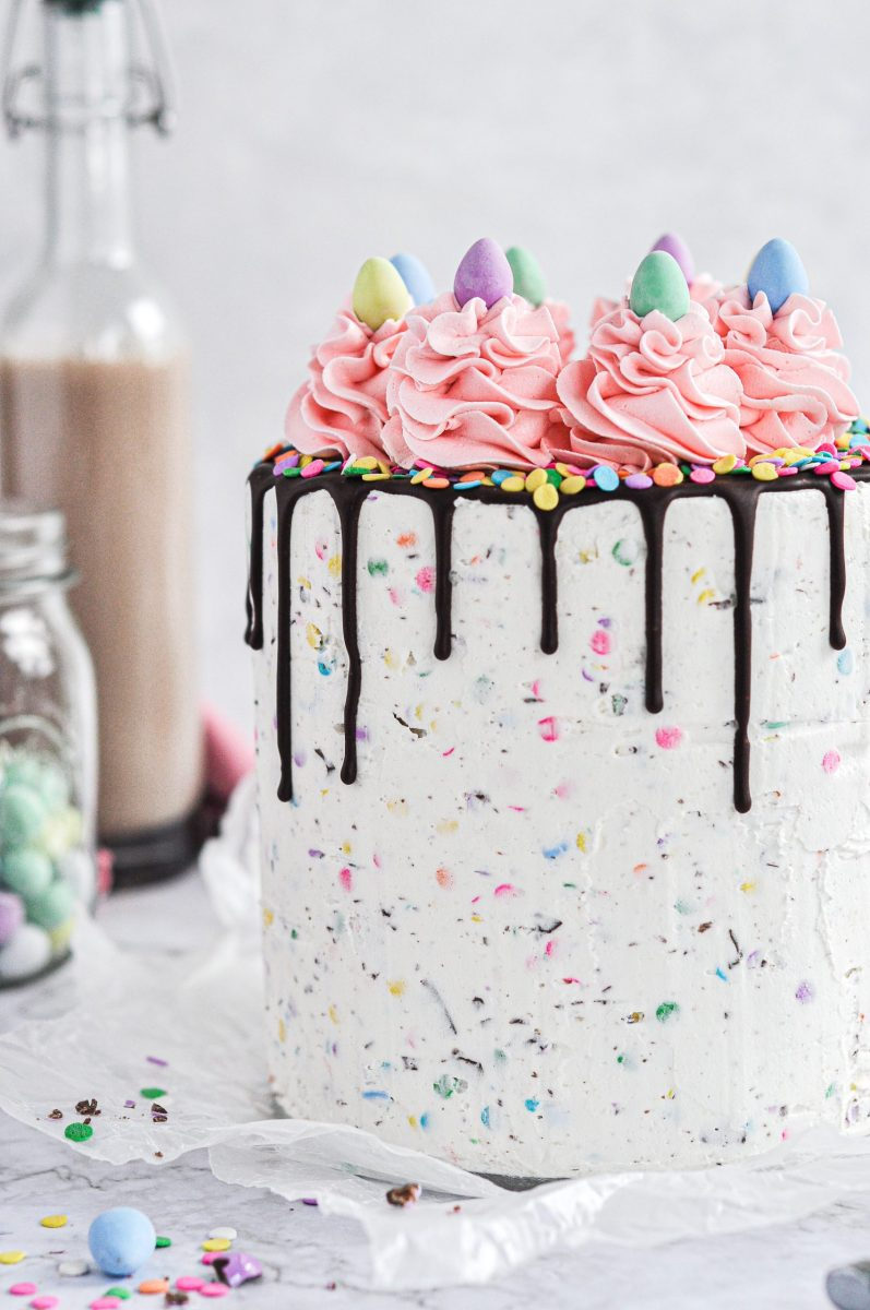 A pastel speckled frosted cake with a chocolate drip and pink frosting swirls on top.