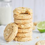 A stack of key lime pie cookies with white chocolate chips
